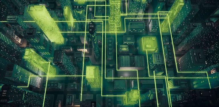 Symbolbild für vernetzte Städte mit grünen Farben.